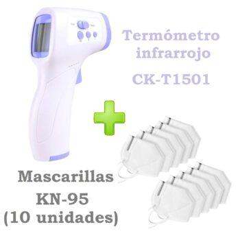 Termómetro infrarrojo CK-T1501 + 10 Mascarillas KN95
